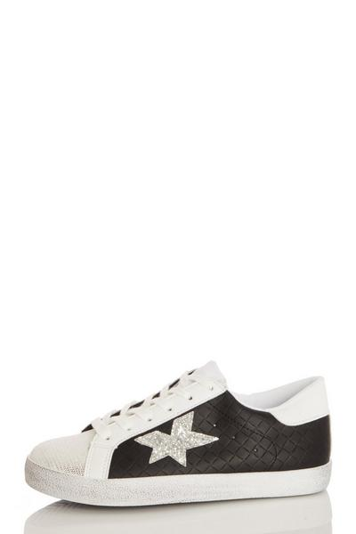 Black Faux Leather Star Trainer