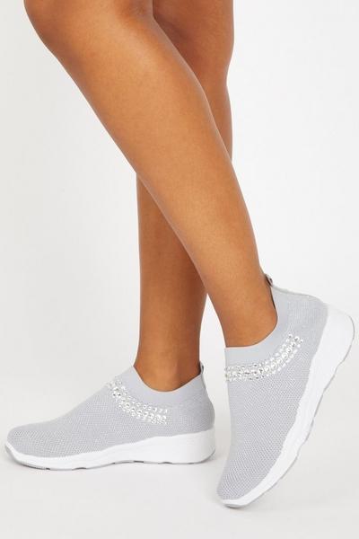 Grey Embellished Knit Trainer