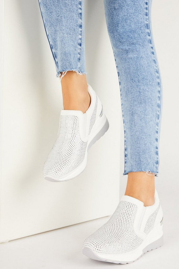 White Faux Leather Wedge Trainer