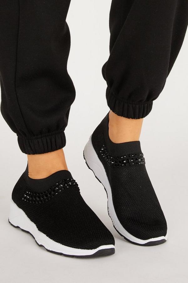 Black Embellished Knit Trainer