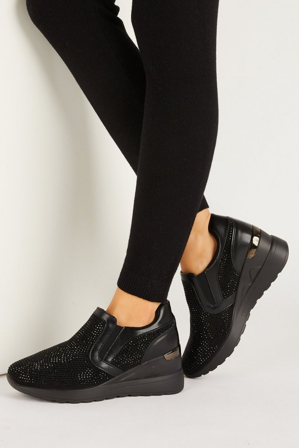 Black Faux Leather Wedge Trainer