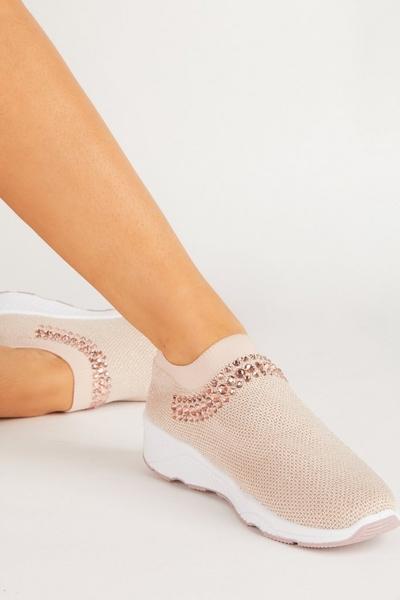 Pink Embellished Knit Trainer