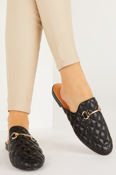 Black Quilted Mule Loafer