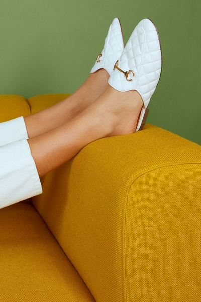White Quilted Mule Loafer
