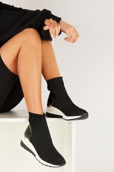 Black Knit Wedge Sock Trainer