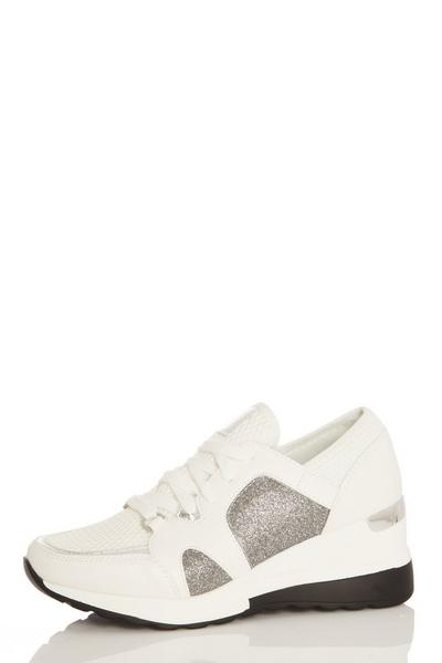 White Shimmer Wedge Trainer