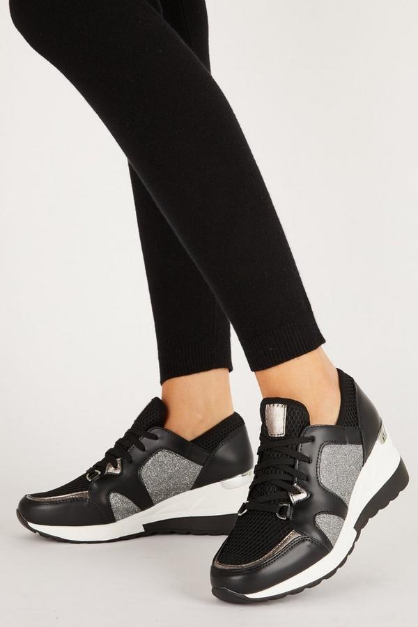 Black Shimmer Wedge Trainer