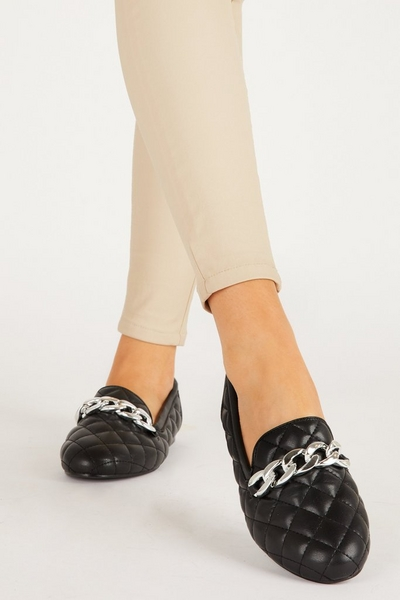 Black Quilted Chain Loafer
