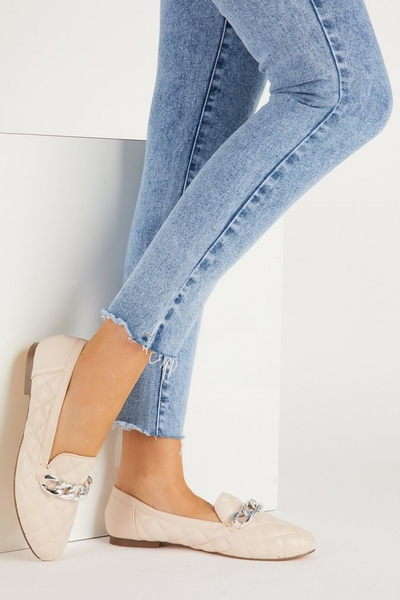 Nude Quilted Chain Loafer