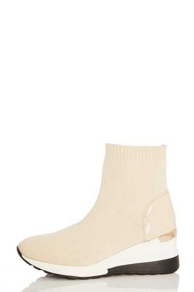 Nude Knit Wedge Sock Trainer