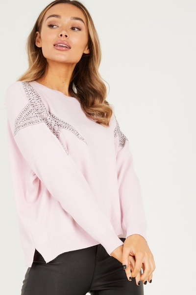 Pink Star Diamante Knitted Jumper