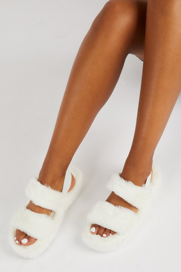 White Faux Fur Mule Slipper