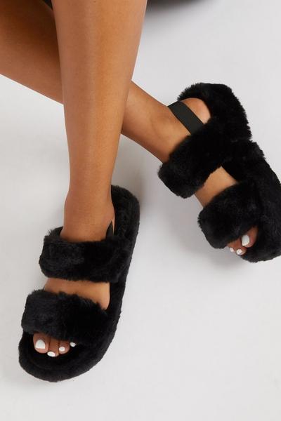 Black Faux Fur Mule Slipper