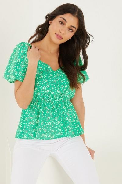 Green Floral Print Peplum Top