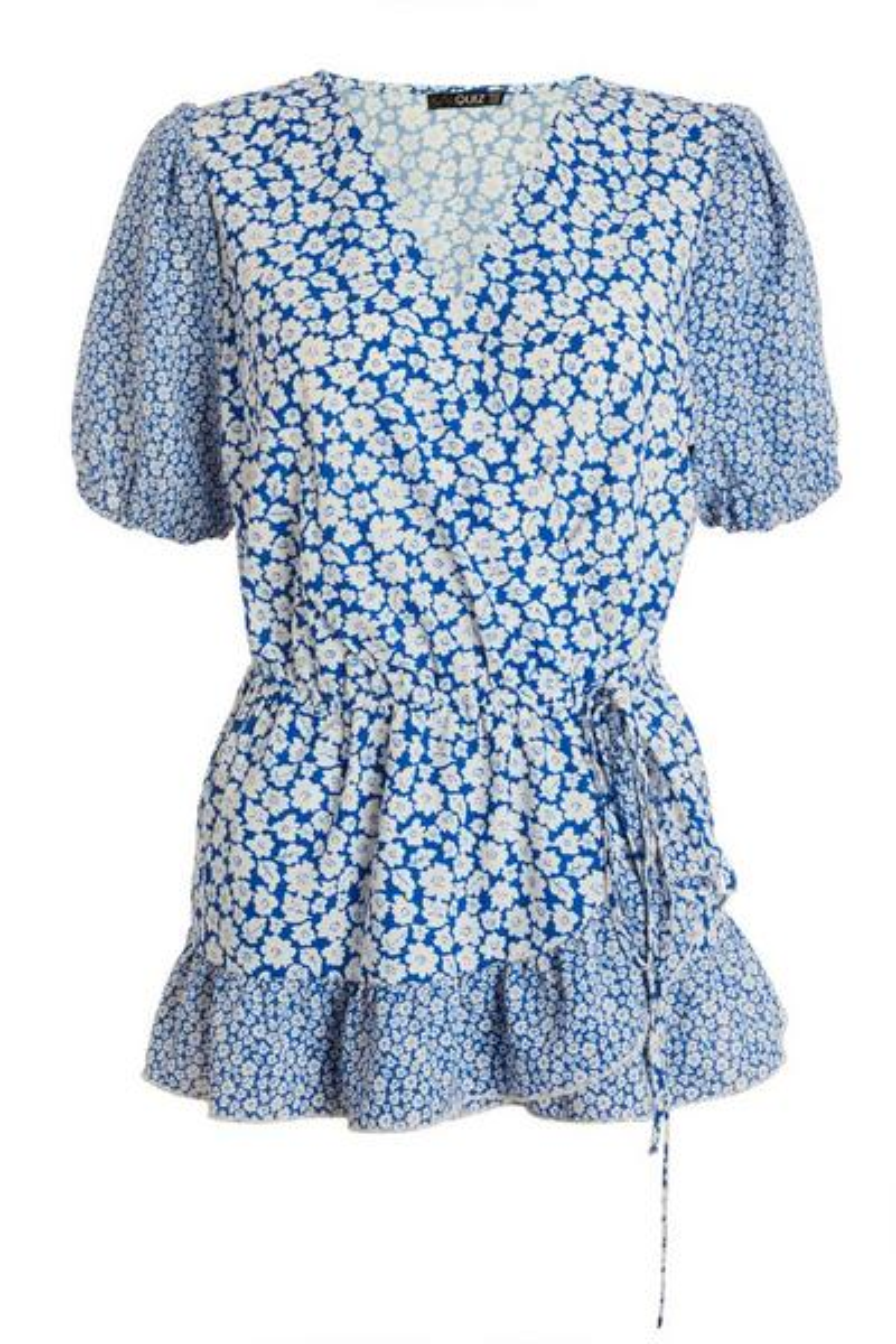 Blue Floral Wrap Top