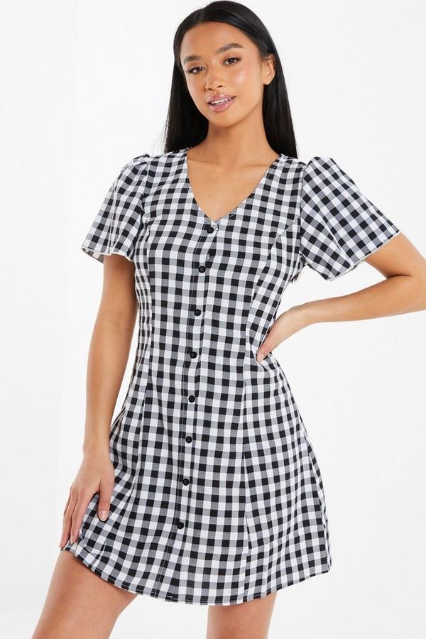 Petite Black Gingham Dress