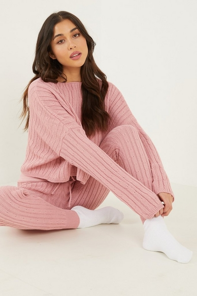 Pink Cable Knit Lounge Set