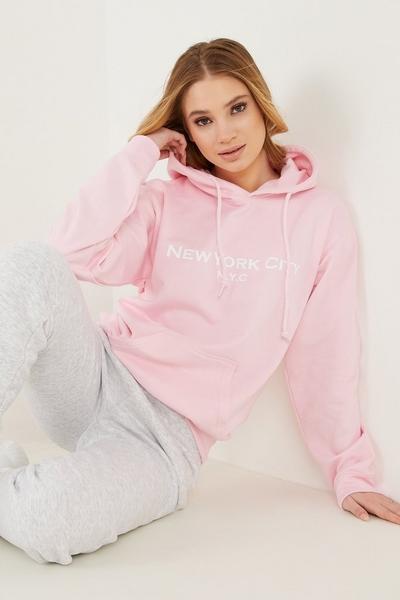 Pink Slogan Hoodie