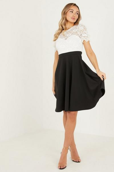 Cream/Black Lace Sweat  CAP Sleeve Skater Dress