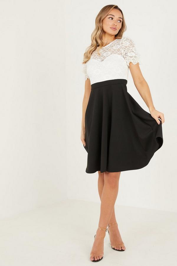 Cream/Black Lace Sweat  CAP Sleeve Skater Dress
