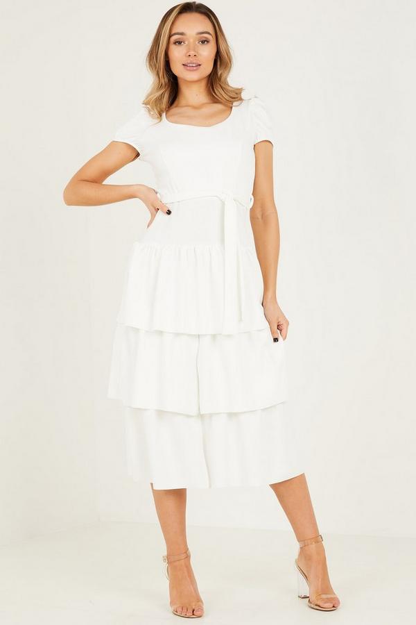 Cream Scuba Crepe Puff Sleeves Midaxi Dress