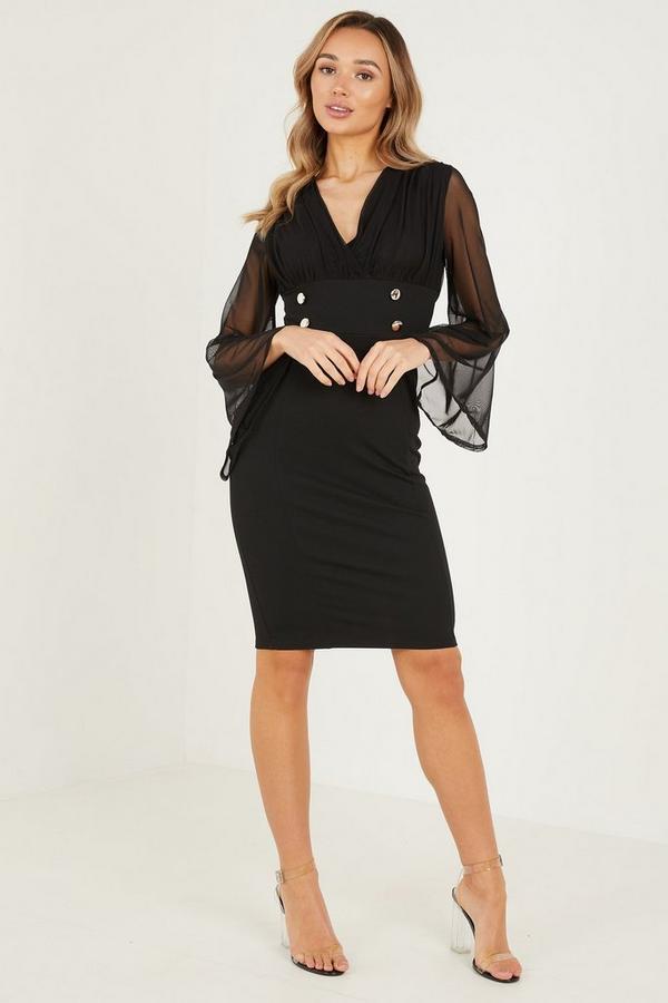 Black Mesh Flute Sleeves Midi Dress