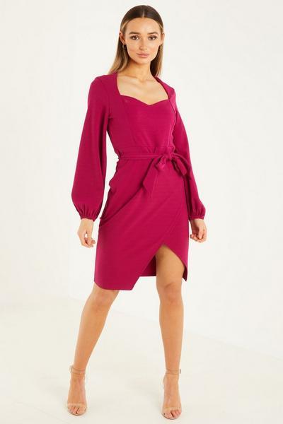 Magenta Scraf Print Puff Sleeves Sweetheart Necline Midi Dress