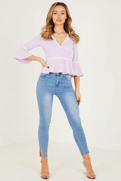 Lilac White Wrap Front Top