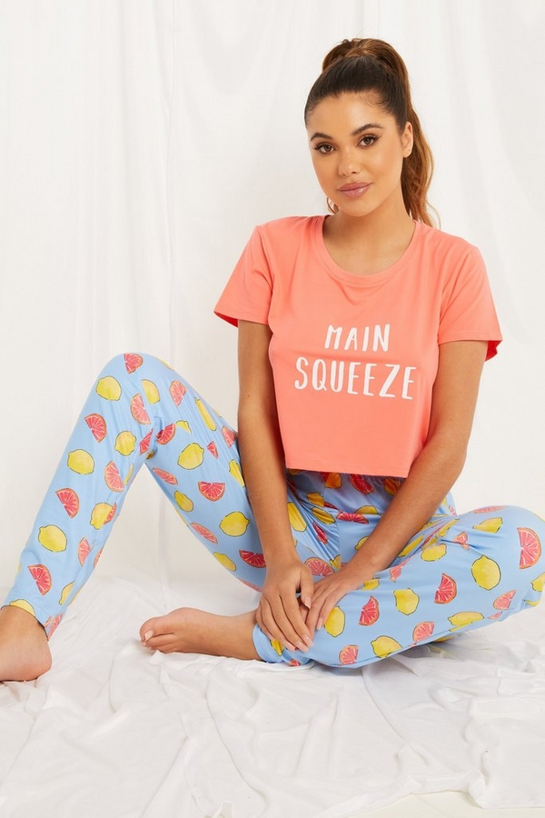 Multicoloured Slogan Long Pyjama Set