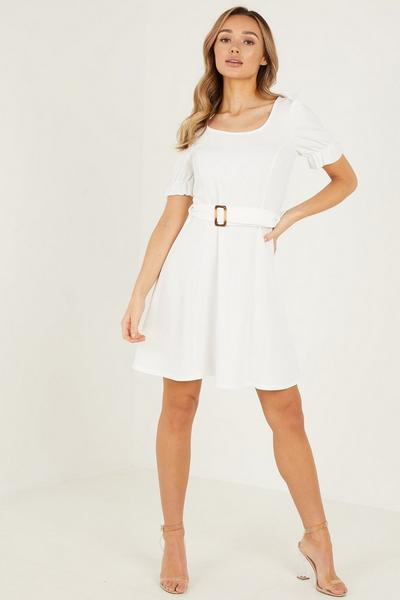 Cream Scuba Crepe Buckle Skater Dress