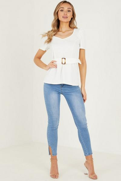Cream Scuba Cepe Buckle Top