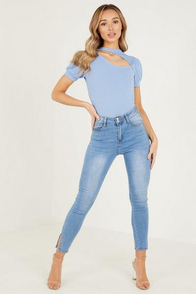 Pale Blue Rib Cutout Bodysuit