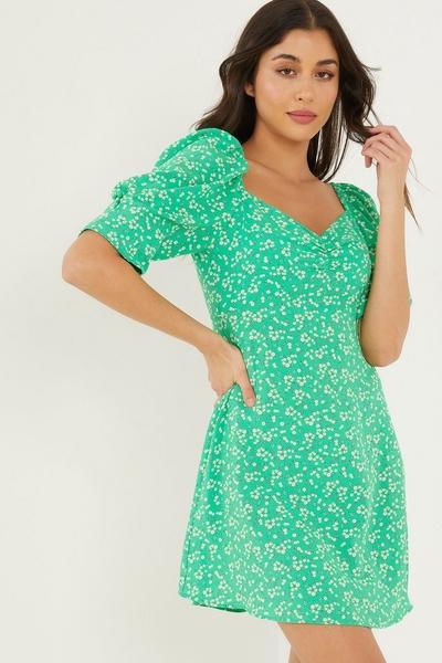 Green Floral Skater Dress