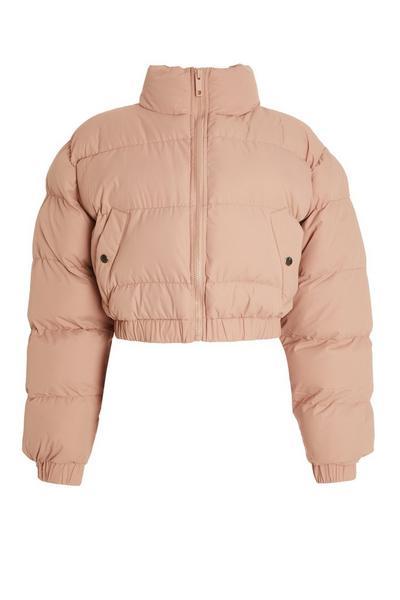 Pink Cropped Puffer Jacket