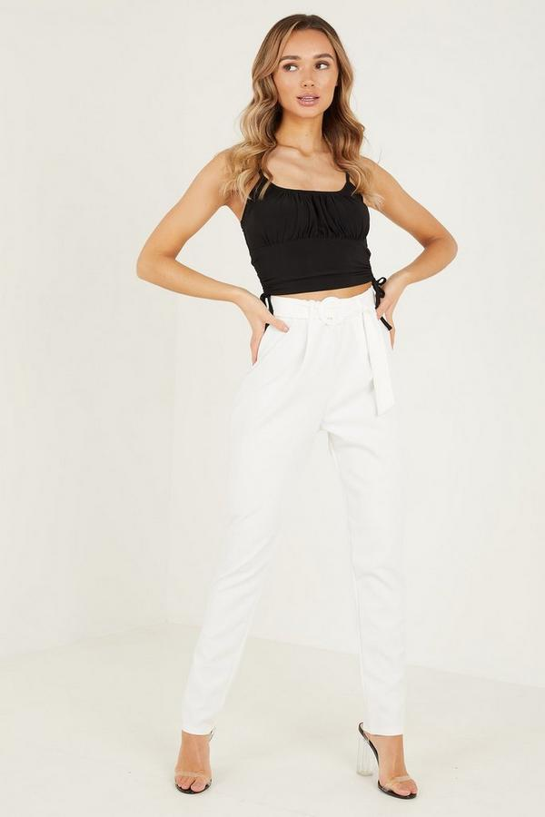 Cream Buckle Trousers
