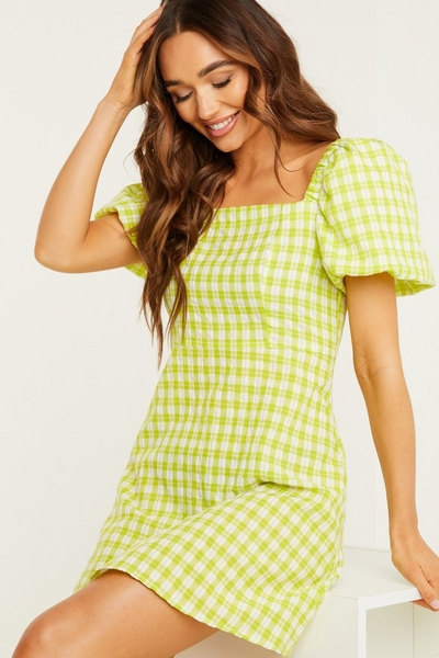 Lime Green Gingham Dress