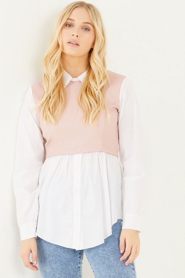 White & Pink Faux Leather Shirt