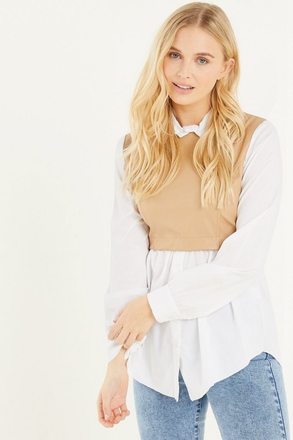 White & Nude Faux Leather Shirt