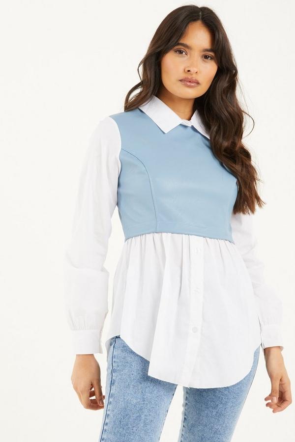 Pale Blue Faux Leather Shirt