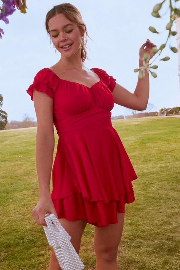Red Bardot Frill Playsuit