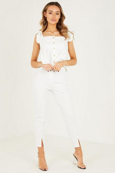 Cream Frill Sleeves Button Detail Top