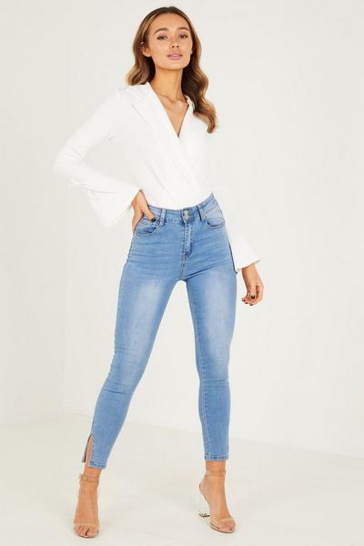 Cream Scina Crepe PU Sleeves Tie & Belt Bodysuit
