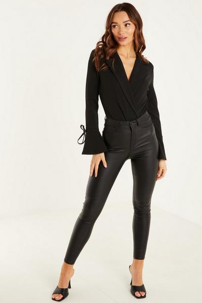 Black Scuba Crepe PU Sleeve Tie & Belt Bodysuit