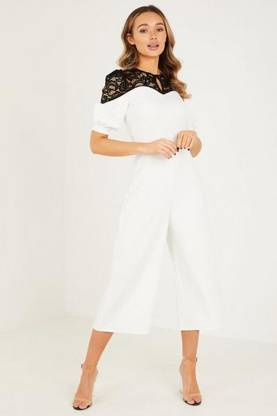 Cream Sweet Heart Neck Black Lace Puff Sleeves Jumpsuit