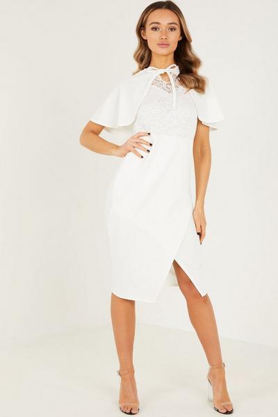 Cream Lace Cape Midi Dress
