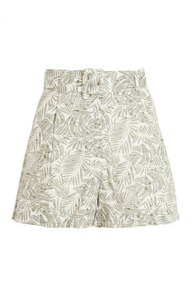 Khaki Tropical Print Shorts