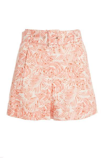 Coral Tropical Print Shorts