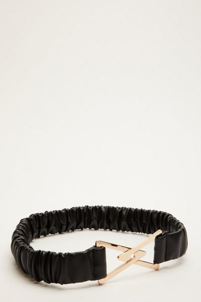 Black Ruched Stretch Belt