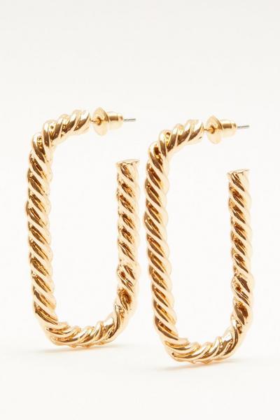 Gold Square Twist Hoop Earrings