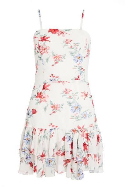 White Chiffon Floral Dress